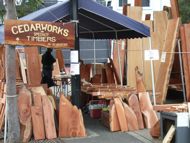 Cedarworks timber slabs on display at a local show